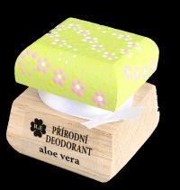 Prírodný krémový dezodorant s vôňou aloe vera a extraktom z aloe - s ručne maľovaným viečkom 15 ml