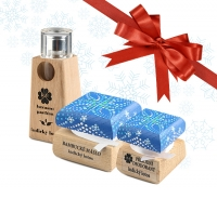 Dámsky vianočný balíček - Luxusný parfum, bambucké maslo a dezodorant Indický lotos s ručne maľovanou krabičkou