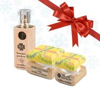 Dámsky vianočný balíček - Luxusný parfum, bambucké maslo a dezodorant Vanilka a orchidej s ručne maľovanou krabičkou