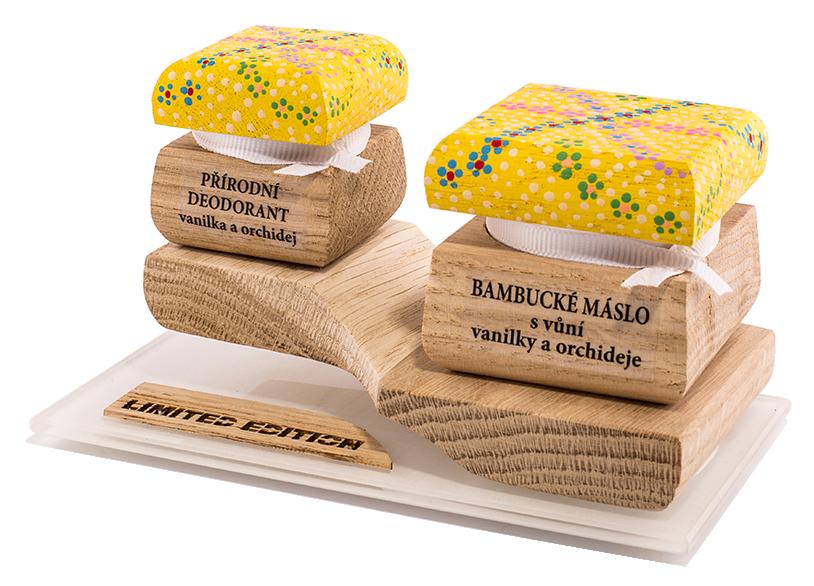 Farebná limitovaná edícia - Bambucké telové maslo 30 ml + Krémový dezodorant 15 ml - Vanilka a Orchidea