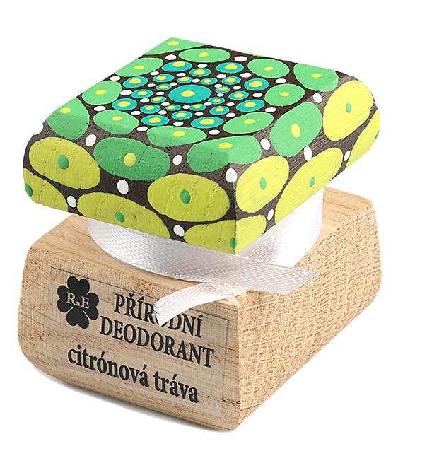 Prírodný krémový dezodorant Citrónová tráva s ručne maľovaným viečkom - mandala 15 ml