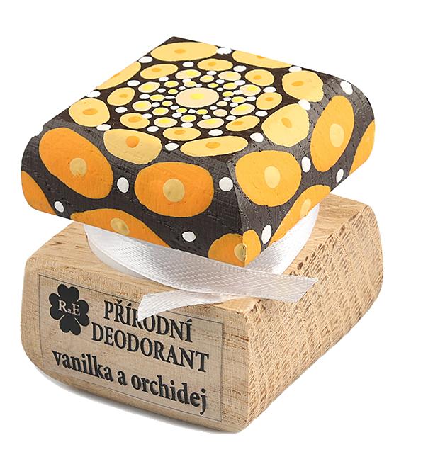 Prírodný krémový dezodorant Vanilka a orchidea s ručne maľovaným viečkom - mandala 15 ml