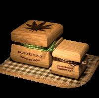 Bambucké telové maslo Konope 50 ml + Krémový dezodorant Nature 15 ml - Santalové drevo