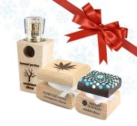 Pánsky kozmetický balíček - Luxusný parfum a dezodorant Santalové drevo s ručne maľovanou krabičkou mandala + Bambucké maslo s konopným olejom