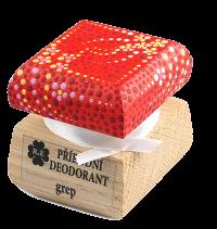 Prírodný krémový dezodorant Grep s ručne maľovaným viečkom - červená 15 ml