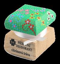 Prírodný krémový dezodorant Citrónová tráva s ručne maľovaným viečkom - zelená 15 ml