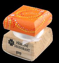 Prírodný krémový dezodorant Grep s ručne maľovaným viečkom - oranžová 15 ml