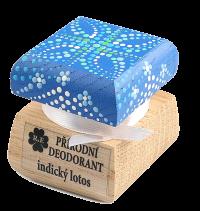 Prírodný krémový dezodorant Indický lotos s ručne maľovaným viečkom - modrá 15 ml