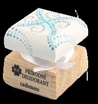 Prírodný krémový dezodorant Cashmere s ručne maľovaným viečkom - bielo-modrá 15 ml